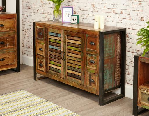 Urban Chic Sideboard 6 Drawer 2 Door Reclaimed Timber image 3