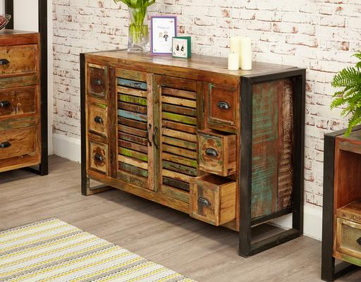 Urban Chic Sideboard 6 Drawer 2 Door Reclaimed Timber image 4