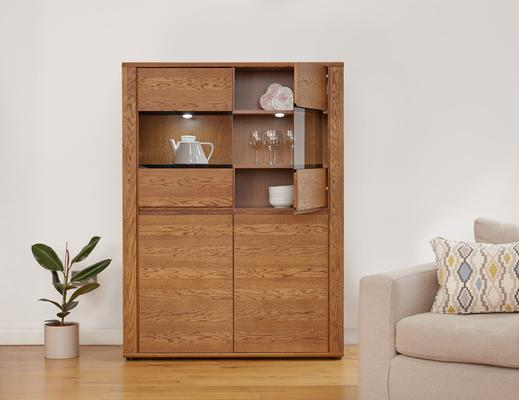 OLTEN Oiled Oak Modern Low Display Cabinet with LED Lighting image 2