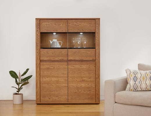 OLTEN Oiled Oak Modern Low Display Cabinet with LED Lighting image 3