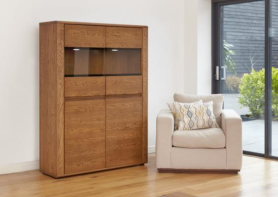 OLTEN Oiled Oak Modern Low Display Cabinet with LED Lighting image 4