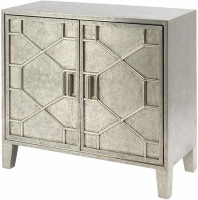 Astor Light Silver Metal Hand Embossed Cabinet 2 Doors