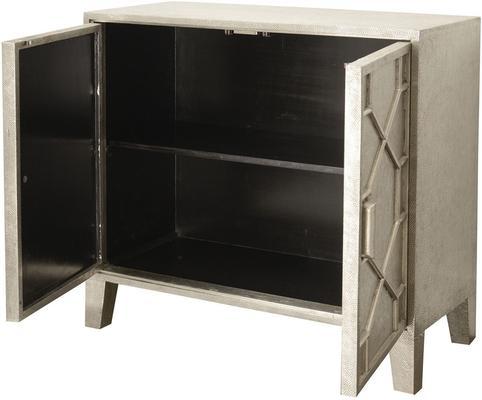 Astor Light Silver Metal Hand Embossed Cabinet 2 Doors image 2