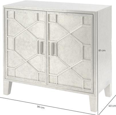 Astor Light Silver Metal Hand Embossed Cabinet 2 Doors image 3