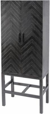 Chevron Embossed Tall Metal 2 Door Cabinet On Stand Bronze and Copper