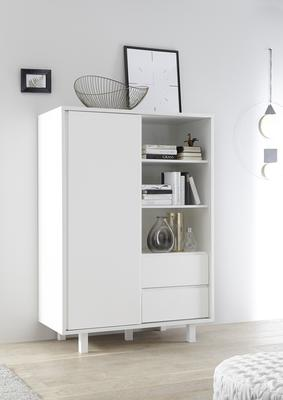 Ancona Small Display and Storage Cabinet Matt White Including LED Spot Lights image 2