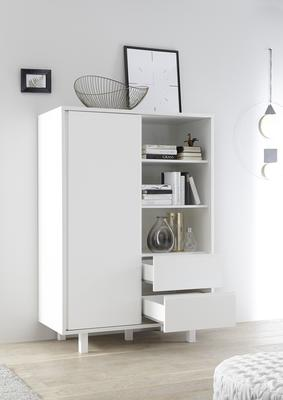 Ancona Small Display and Storage Cabinet Matt White Including LED Spot Lights image 3