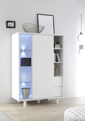 Ancona Small Display and Storage Cabinet Matt White Including LED Spot Lights