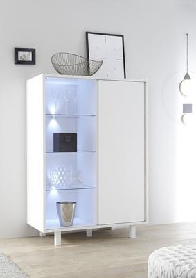 Ancona Small Display and Storage Cabinet Matt White Including LED Spot Lights image 4
