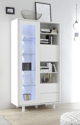 Ancona Large Display and Storage Cabinet Matt White Including LED Spot Lights