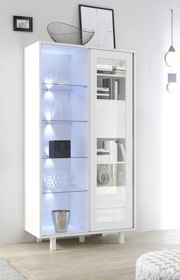 Ancona Large Display and Storage Cabinet Matt White Including LED Spot Lights image 2