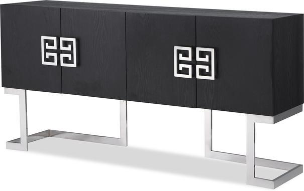 Nobbu Dark Wood Oriental Sideboard Brass or Chrome