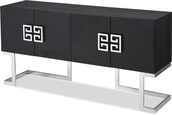 Nobbu Dark Wood Oriental Sideboard Brass or Chrome image 3
