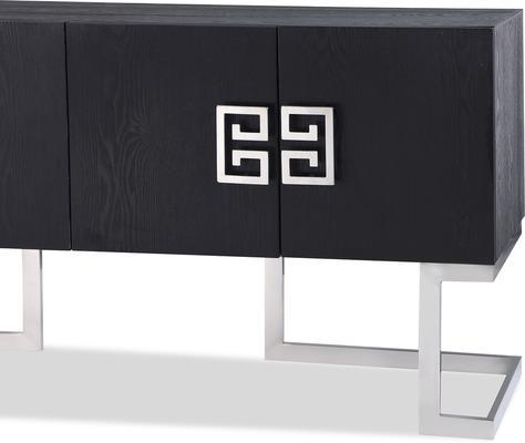 Nobbu Dark Wood Oriental Sideboard Brass or Chrome image 4