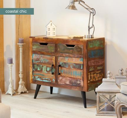 Coastal Chic Small Sideboard 3 Drawer 3 Door Reclaimed Timber image 3