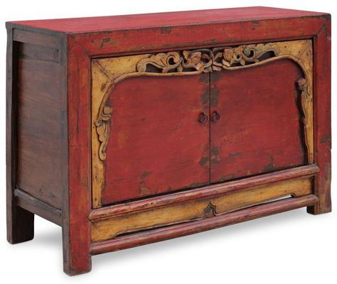 Red Lacquer Two Door Grain Cabinet