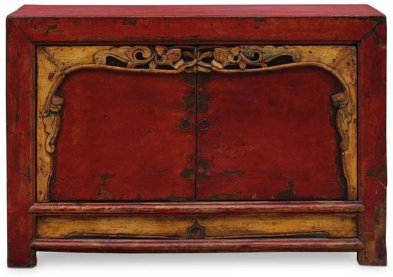 Red Lacquer Two Door Grain Cabinet image 2