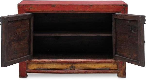 Red Lacquer Two Door Grain Cabinet image 3