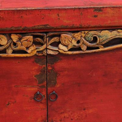 Red Lacquer Two Door Grain Cabinet image 4