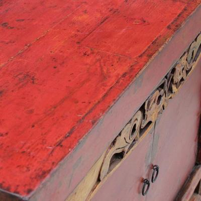 Red Lacquer Two Door Grain Cabinet image 5