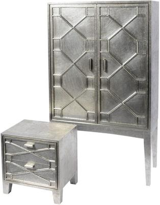 Astor Hand Embossed Metal Bar Cabinet image 2