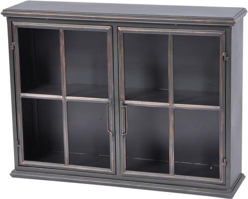 Moresby 2 Door Black Wall Cabinet Glass Doors