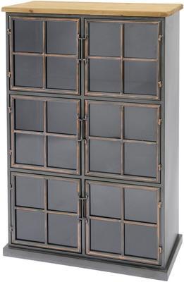 Moresby 6 Door Antique Iron Glass Cabinet Wood Top