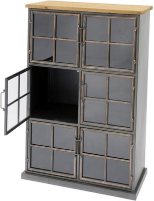 Moresby 6 Door Antique Iron Glass Cabinet Wood Top image 2