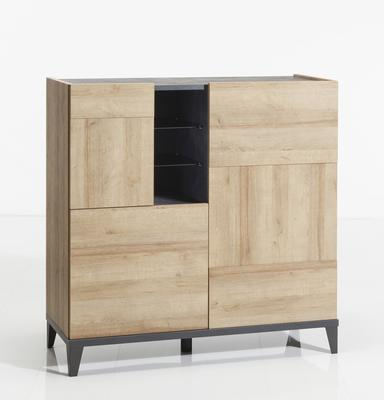 Varese High Sideboard - Light Oak and Anthracite Grey Finish