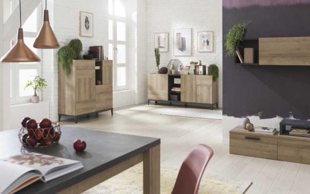 Varese High Sideboard - Light Oak and Anthracite Grey Finish image 5