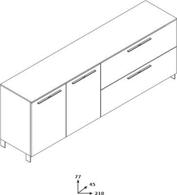 Modica Large Sideboard - White and Grey Finish image 4