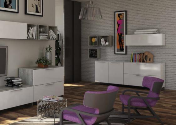 Modica Large Sideboard - White and Grey Finish image 5