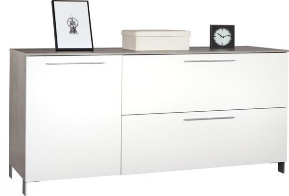 Modica Small Sideboard - Gloss White and Grey Finish