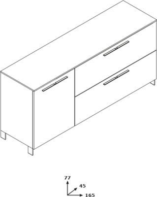 Modica Small Sideboard - Gloss White and Grey Finish image 3