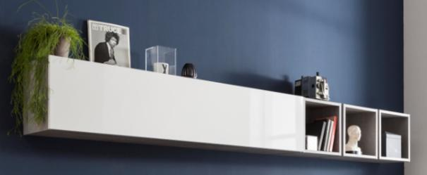 Modica Long Wall Unit - White and Grey Finish image 2