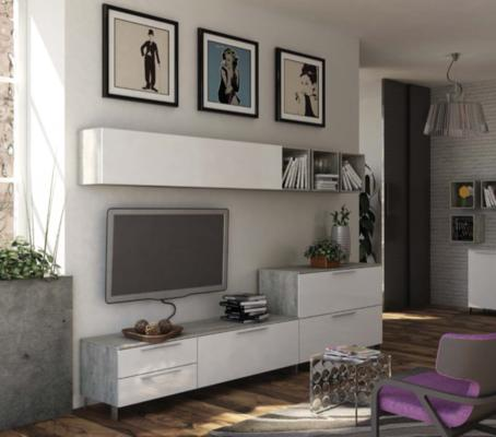 Modica Long Wall Unit - White and Grey Finish image 4