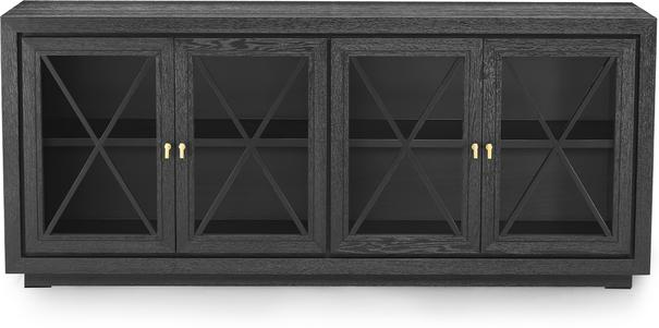 York Wenge Veneer Sideboard 4 Glass Doors  image 2