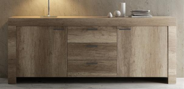 Livorno Two Door Three Drawer Sideboard - San Remo Oak Finish