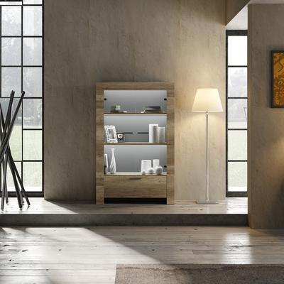 Livorno Two Door One Drawer Display Vitrine inc. Two LED Spot Light - San Remo Oak Finish image 2
