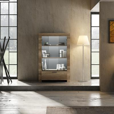Livorno Two Door One Drawer Display Vitrine inc. Two LED Spot Light - San Remo Oak Finish image 3