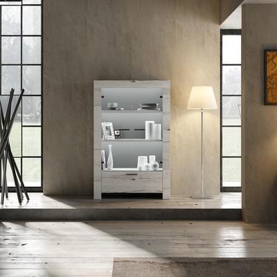 Livorno Two Door One Drawer Display Unit White Oak with LED Spotlight image 2