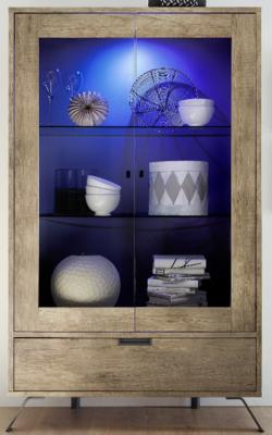 Palma Double Vitrine with Internal LED Spotlight in San Remo Oak