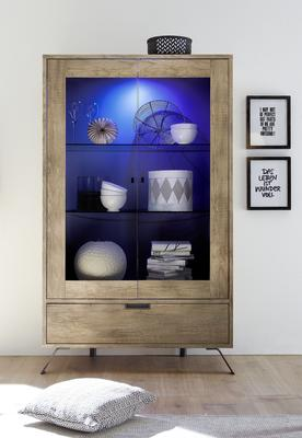Palma Double Vitrine with Internal LED Spotlight in San Remo Oak image 2