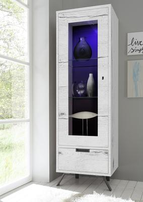 Palma Single Vitrine with Internal LED Spotlight in White Oak finish