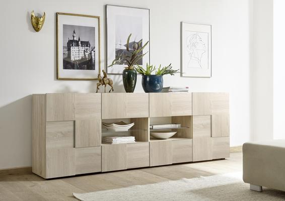 Treviso Long Sideboard - Two Doors / Four Drawers in Samoa Oak Finish image 3