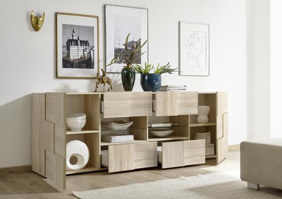 Treviso Long Sideboard - Two Doors / Four Drawers in Samoa Oak Finish image 4
