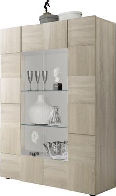 Treviso Two Door Display Cabinet - Samoa Oak with LED Spotlight