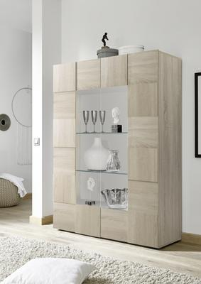 Treviso Two Door Display Cabinet - Samoa Oak with LED Spotlight image 2