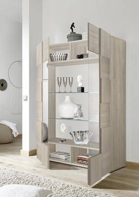 Treviso Two Door Display Cabinet - Samoa Oak with LED Spotlight image 3
