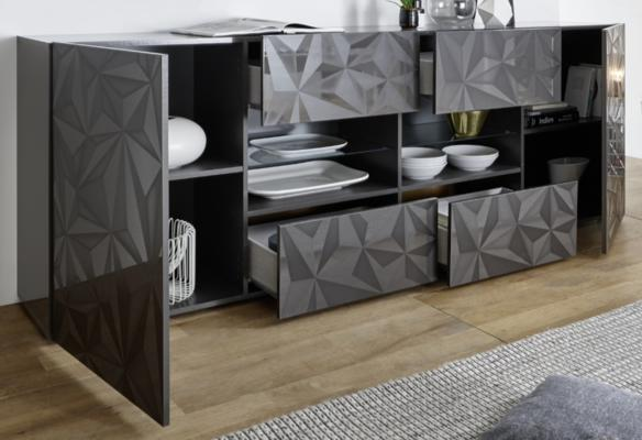 Brescia Two Door/Four Drawer Sideboard - Gloss Anthracite with Grey Stencil image 2